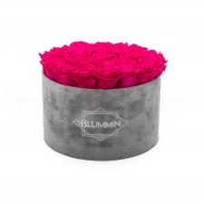 EXTRA LARGE BLUMMiN - helehall sametkarp HOT PINK uinuvate roosidega