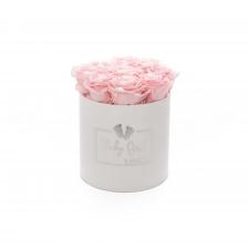 BABY GIRL - WHITE VELVET BOX WITH 9 BRIDAL PINK ROSES