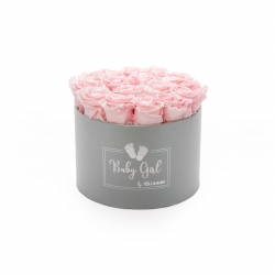 BABY GIRL - LIGHT GREY BOX WITH 15 BRIDAL PINK ROSES