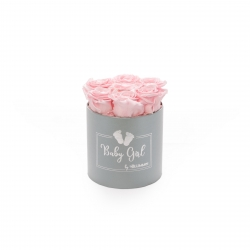 BABY GIRL - LIGHT GREY BOX WITH 7 BRIDAL PINK ROSES