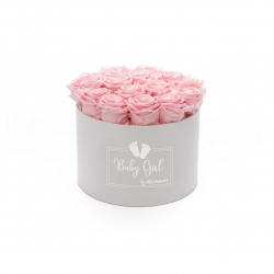 BABY GIRL - WHITE BOX WITH 15 BRIDAL PINK ROSES