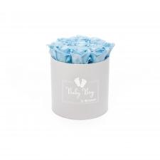 BABY BOY - valge karp BABY BLUE roosidega (9 roosiga)