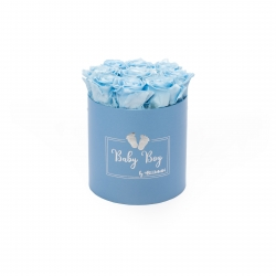 BABY boy - BLUE BOX WITH 9 BABY BLUE ROSES