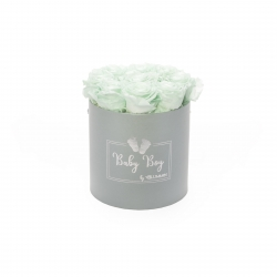 BABY BOY - LIGHT GREY BOX WITH 9 MINT ROSES