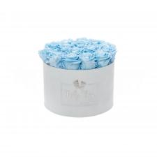 BABY BOY - LIGHT BLUE VELVET BOX WITH 15 BABY BLUE ROSES