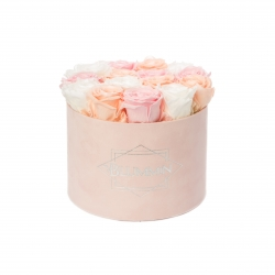 LARGE BLUMMIN LIGHT PINK VELVET BOX WITH MIX ROSES