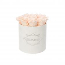 MEDIUM VELVET WHITE PINK BOX WITH ICE PINK ROSES