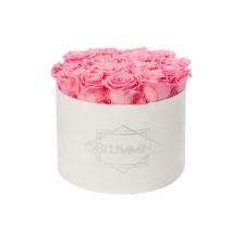 LARGE BLUMMiN - valge sametkarp BABY PINK uinuvate roosidega