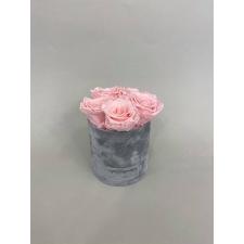 BLUMMIN LIGHT GREY VELVET BOX WITH 5 BRIDAL PINK ROSES