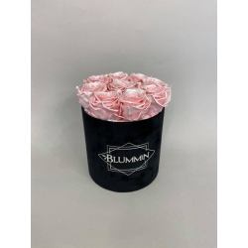MEDIUM  BLACK VELVET BOX WITH SATIN PINK ROSES
