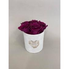 LOVE - VALGE sametkarp 5 PLUM roosidega
