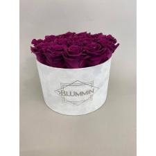 LARGE BLUMMIN OLD PINK VELVET BOX WITH WHITE ROSES