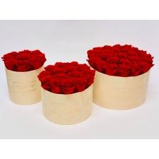 KALLILE EMALE NUDE VELVET BOX WITH VIBRANT RED ROSES