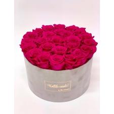 EXTRA LARGE - KALLILE EMALE helehall sametkarp HOT PINK roosidega