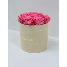 MEDIUM Kallile emale - nude sametkarp BABY PINK roosidega