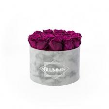 LARGE BLUMMIN LIGHT GREY BOX WITH VINTAGE PLUM ROSES