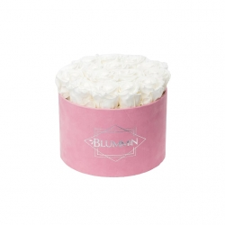 LARGE VELVET PINK BOX WITH WHITE ROSES