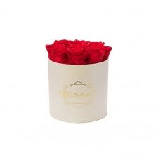 MEDIUM CLASSIC CREAM BOX WITH VIBRANT RED ROSES