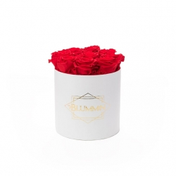 MEDIUM BLUMMIN WHITE BOX WITH VIBRANT RED ROSES