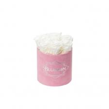 SMALL VELVET PINK BOX WITH WHITE ROSES
