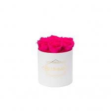 SMALL BLUMMiN - valge karp HOT PINK roosidega