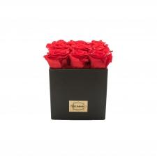 BLACK CERAMIC POT WITH 9 VIBRANT RED ROSES