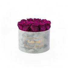 LARGE Kallile emale LIGHT GREY VELVET BOX WITH VINTAGE PLUM ROSES