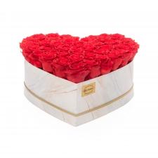 MARMOR Südamekujuline lillekarp XXL VIBRANT RED roosidega (40 ROOSI)