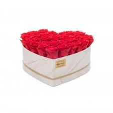 MARMOR Südamekujuline lillekarp XL VIBRANT RED roosidega (33 ROOSI)