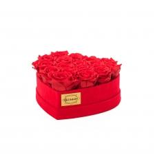 RED VELVET HEART WITH VIBRANT RED ROSES (15-17 ROSES)