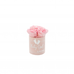 BABY GIRL - LIGHT PINK VELVET BOX WITH 3 BRIDAL PINK ROSES