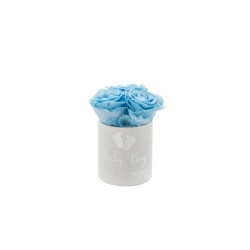 BABY BOY - WHITE VELVET BOX WITH 3 BABY BLUE ROSES