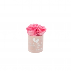 BABY GIRL - LIGHT PINK VELVET BOX WITH 3 BABY PINK ROSES