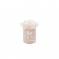 BABY GIRL - LIGHT PINK VELVET BOX WITH 3 WHITE ROSES