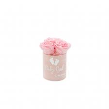 BABY GIRL - HELEROOSA sametkarp BRIDAL PINK roosidega (XS - 3 roosiga)