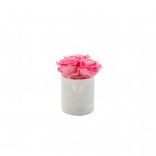 BABY GIRL - WHITE VELVET BOX WITH 3 BABY PINK ROSES