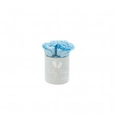 BABY BOY - LIGHT BLUE VELVET BOX WITH 3 BABY BLUE ROSES