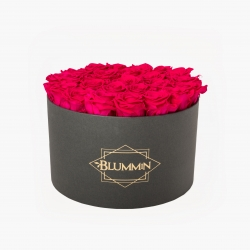 EXTRA LARGE BLUMMIN DARK GREY BOX WITH HOT PINK ROSES