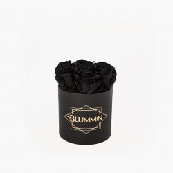 SMALL CLASSIC BLACK BOX WITH BLACK ROSES