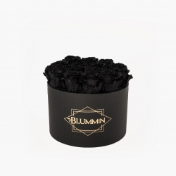 LARGE CLASSIC BLACK BOX WITH BLACK ROSES