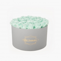 XL BLUMMiN - LIGHT GREY BOX WITH MINT ROSES