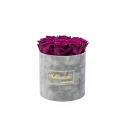 MEDIUM Kallile emale LIGHT GREY VELVET BOX WITH VINTAGE PLUM ROSES