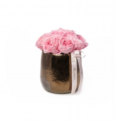 COPPER CERAMIC POT WITH PINK JARDIN ROSES