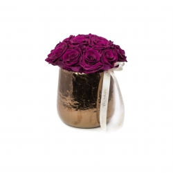 COPPER CERAMIC POT WITH 15-17 VINTAGE PLUM ROSES