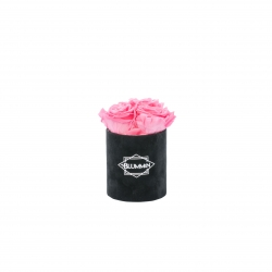 XS BLUMMIN - BLACK VELVET BOX WITH BABY PINK ROSES