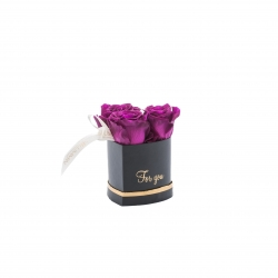 MINI HEART BLACK WITH PLUM ROSES