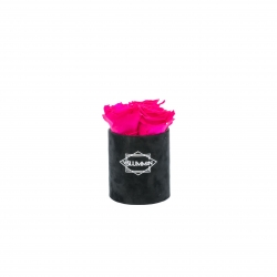 XS BLUMMiN - BLACK VELVET BOX WITH HOT PINK ROSES