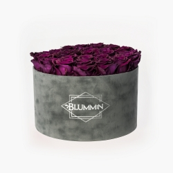 EXTRA LARGE BLUMMiN DARK GREY VELVET BOX WITH VINTAGE PLUM ROSES