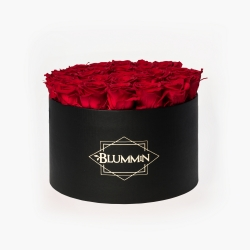 EXTRA LARGE CLASSIC BLACK BOX WITH VIBRANT RED ROSES