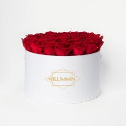 EXTRA LARGE CLASSIC WHITE BOX WITH VIBRANT RED ROSES